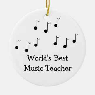 Black and White Musical Notes Teacher Round Ceramic Decoration