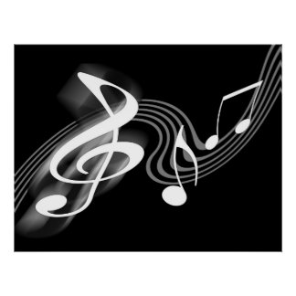 Black and White Musical Scale Poster