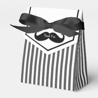 Black and White Mustache Groomsman Gift Box