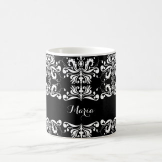 Black and White Named Damask Basic White Mug
