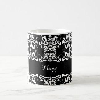 Black and White Named Damask Coffee Mug