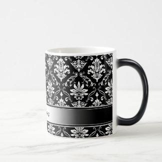 Black and White Named Damask Magic Mug