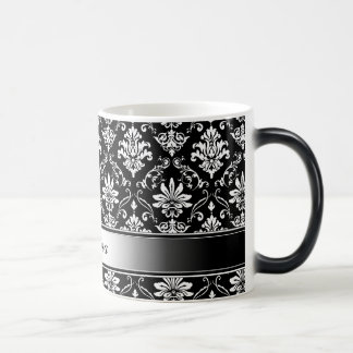 Black and White Named Damask Morphing Mug