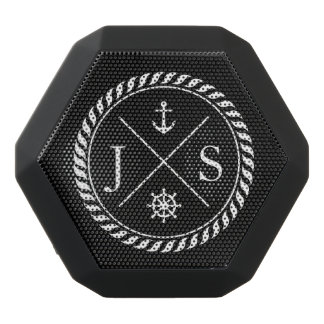 Black and White Nautical Anchor Monogram Black Boombot Rex Bluetooth Speaker