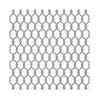Black And White Nautical Rope Pattern Canvas Print