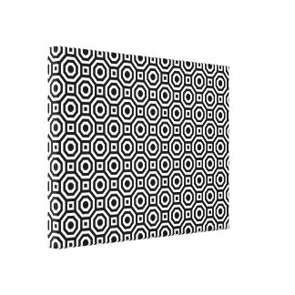 Black and White Nested Octagon Wrapped Canvas Gallery Wrap Canvas