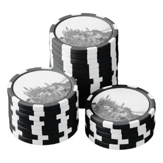 Black and White Neuschwanstein Castle in Winter Poker Chips