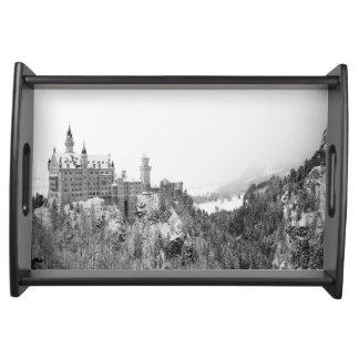 Black and White Neuschwanstein Castle in Winter Serving Tray