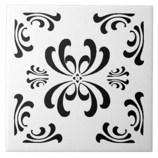 Black and White Nouveau Flourish Ceramic Tile
