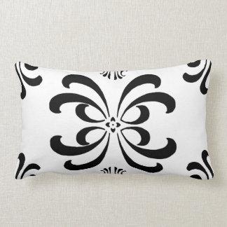 Black and White Nouveau Flourish Decor Pillow