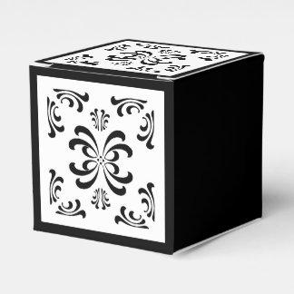 Black and White Nouveau Flourish Favor Box