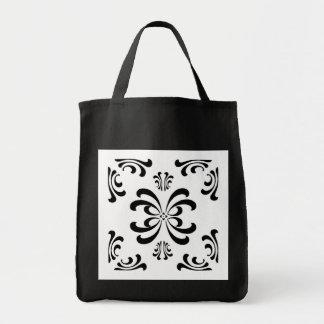 Black and White Nouveau Flourish Tote Bag