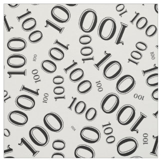 Black and White Number 100 Typography Pattern Fabric