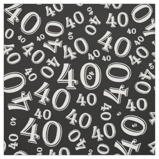 Black and White Number 40 Typography Pattern Fabric