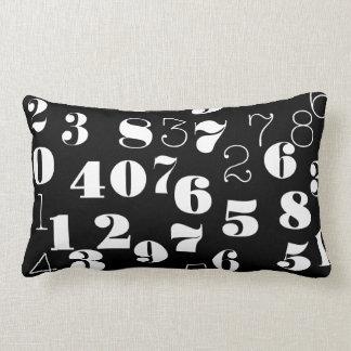 Black and white numbers pattern lumbar cushion