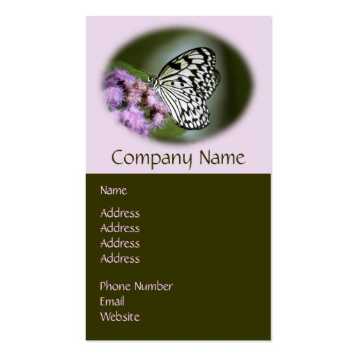 Black and White Nymph Butterfly Business Card Template