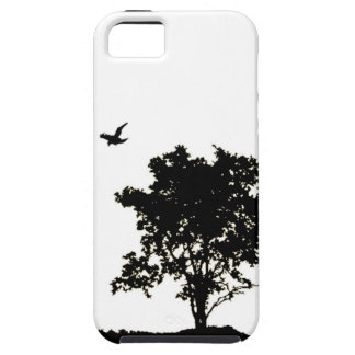 Black and White Oak tree with Crow Iphone Case