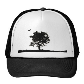 Black and white Oak tree with crow Trucker hate Cap