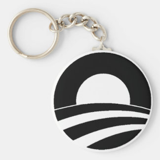 black and white obama logo basic round button key ring