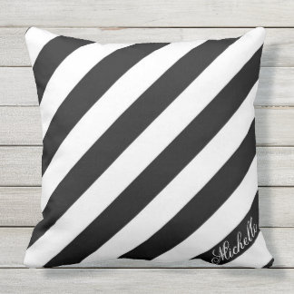 Black and White Oblique Stripes Custom Monogram Cushion