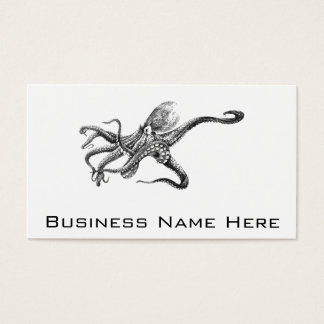 Black and White Octopus Illustration Business Card
