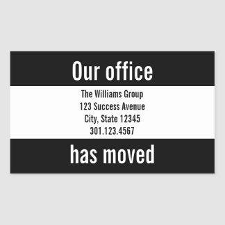 Black and White Office Moving Announcement Sticker