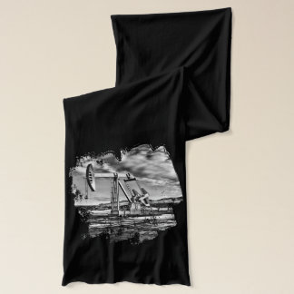 Black and White Oil Well Pumping Unit Image Scarf