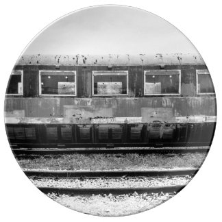 Black and White Old Train Plate