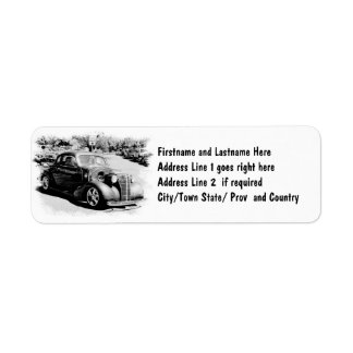 Black and White Oldie - Vintage Auto Return Address Label