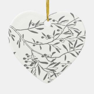 Black and White Olive Branches Ceramic Ornament