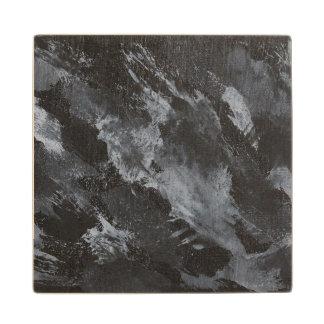 Black and White on Black Wood Coaster