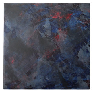 Black and White on Blue and Red Background Ceramic Tile
