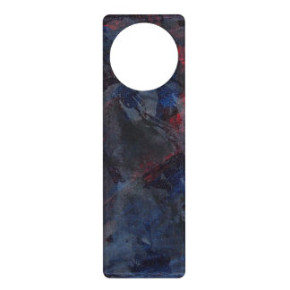 Black and White on Blue and Red Background Door Hanger