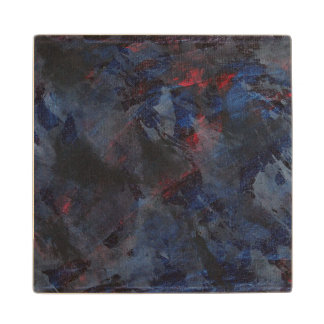Black and White on Blue and Red Background Maple Wood Coaster