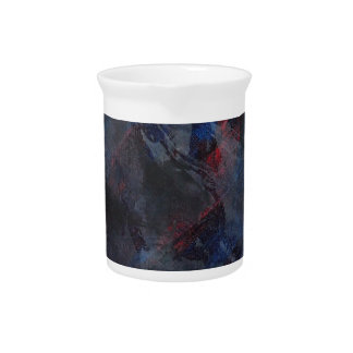 Black and White on Blue and Red Background Pitcher