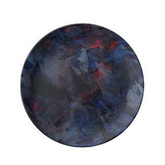 Black and White on Blue and Red Background Porcelain Plate