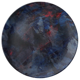 Black and White on Blue and Red Background Porcelain Plates