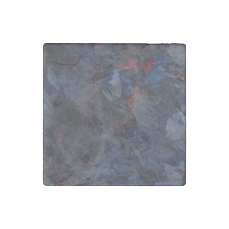 Black and White on Blue and Red Background Stone Magnet