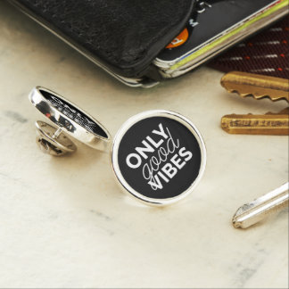 Black and White Only Good Vibes Lapel Pin
