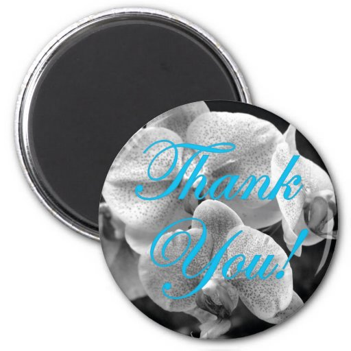 Black and White Orchid Aqua Thank You Magnet