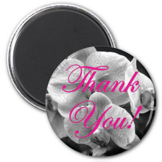 Black and White Orchid Hot Pink Thank You Magnet
