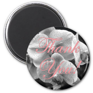 Black and White Orchid Light Blue Thank You Magnet