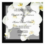 Black and White Orchid Wedding Invitations