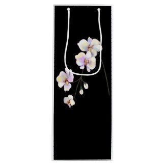 Black and White Orchid Wine Bag with text