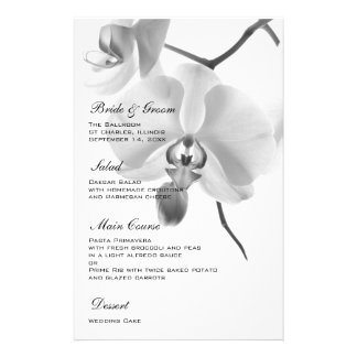 Black and White Orchids Wedding Menu Custom Stationery