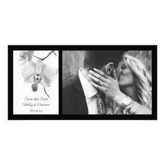 Black and White Orchids Wedding Save the Date Custom Photo Card