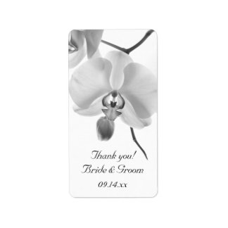 Black and White Orchids Wedding Thank You Label Address Label