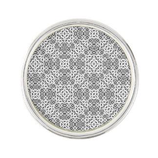 Black and White Oriental Ornate Lapel Pin