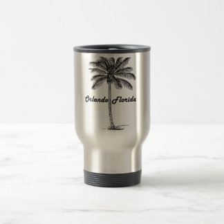 Black and White Orlando & Palm design Travel Mug