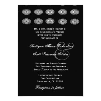 "Black and White Ornamental Grillwork Wedding 5"" X 7"" Invitation Card"